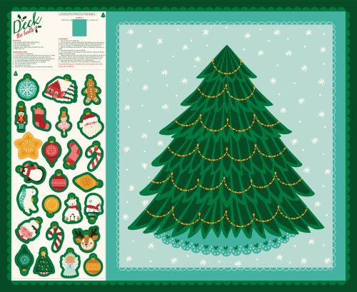 Christmas Tree Fabric Panel With Decorations from the Deck the Hall Collection by Stacy lest Hsu for Moda