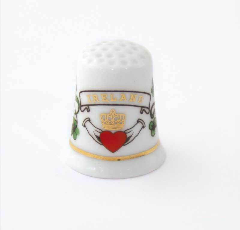 Claddagh Thimble - Porcelain Souvenir Thimble - Irish Gift