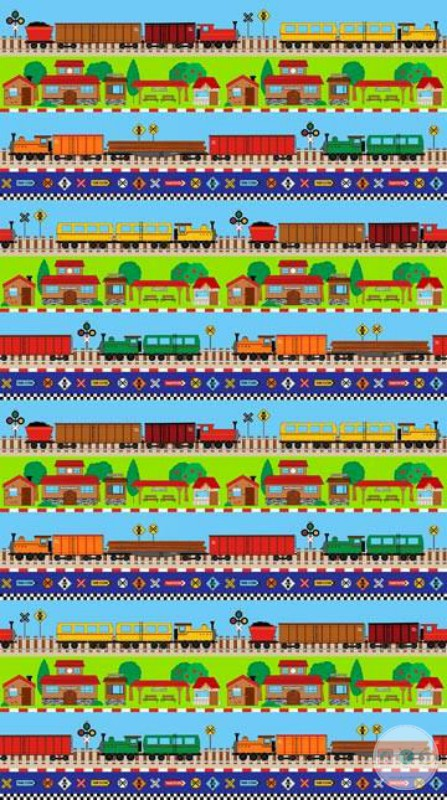 Connector Playmats - Train Track Border 21140-72 - Green Cotton Childrens Material - by Deborah Edwards for Northcott Fabrics