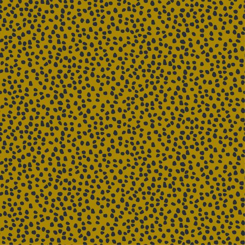 Cotton Canvas Fabric Mustard with Navy Spots.