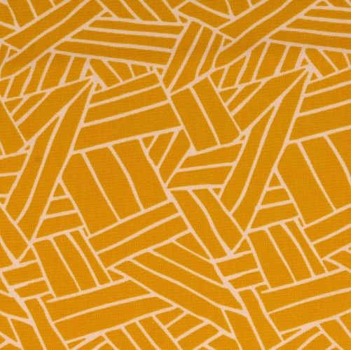 Cotton Canvas Fabric - Ochre with Geometric Lines