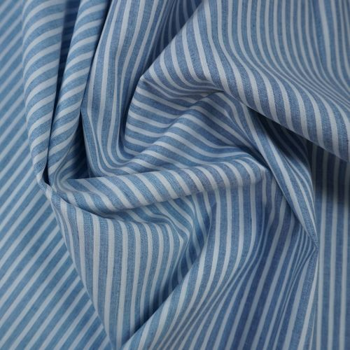 Cotton Linen Fabric - Deadstock - Blue and White Stripe