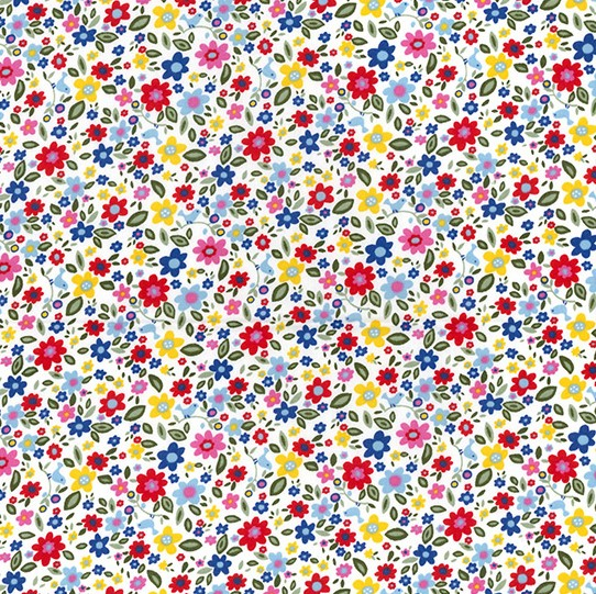 Colourful Flowers On White Poplin by Rose and Hubble