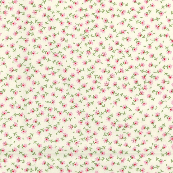 Tiny Pink Buds On Cream Poplin by Rose and Hubble