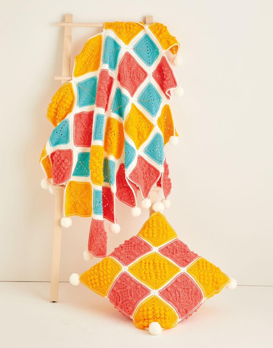 Crochet Pattern - Hayfield 10120 Blanket and Cushion