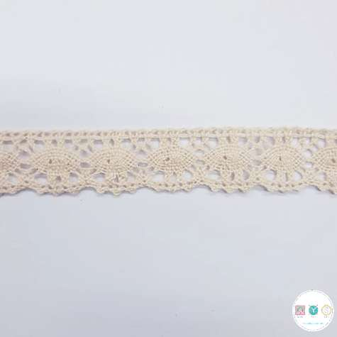 Cream Cotton Lace Trim - 1 inch - Crochet Style - Edging - Haberdashery