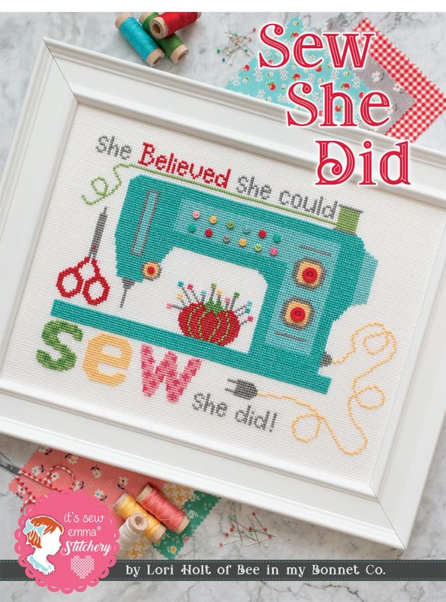 Cross Stitch Pattern - She Believed She Could Sew She Did by Lori Holt