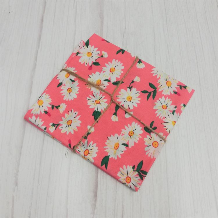 Quilting Fabric - Cotton Square with Daisies on Pink by Sew Cool