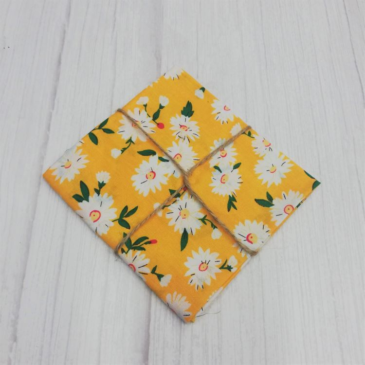 Quilting Fabric - Cotton Square with Daisies on Yellow by Sew Cool