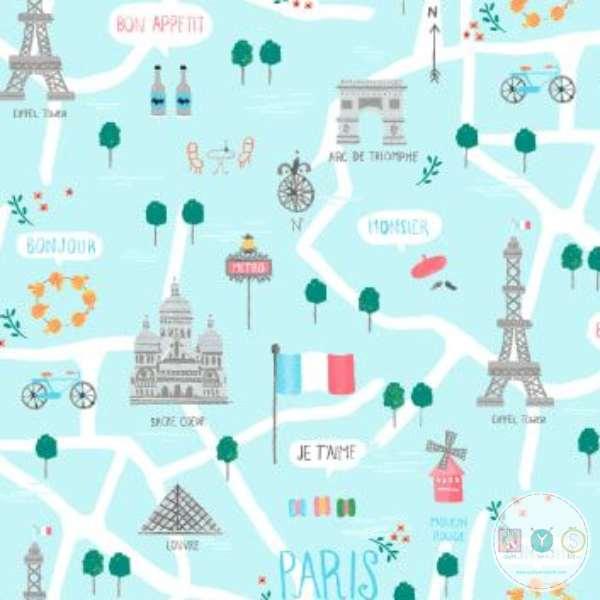 Parisienne Le Map Capri Eiffel Tower Paris Map Cotton Fabric On