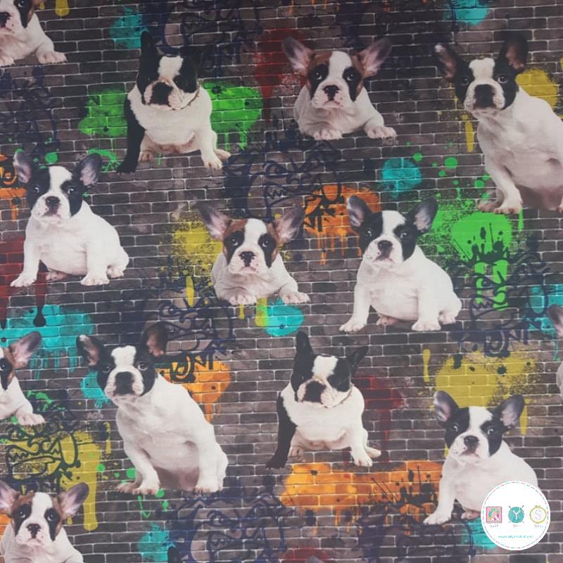 Graffiti Dogs - Cotton Digital Jersey - Childrens Textiles - 240gr/m2 - Dressmaking Fabric