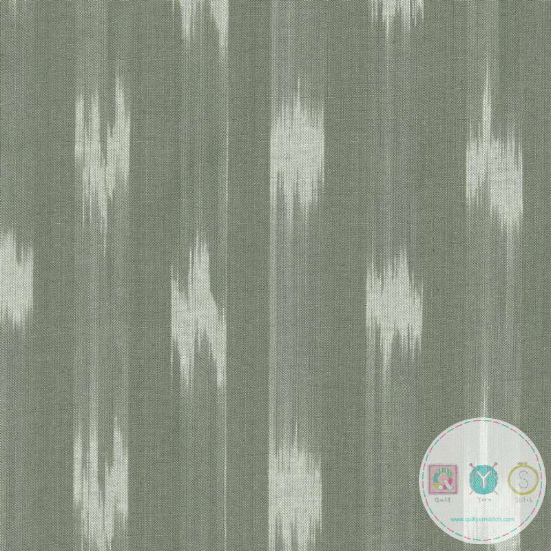 Ikat -Behind The Scenes Woven - Grey Green Cotton - by Jen Kingwell for Moda Fabrics - Dressmaking