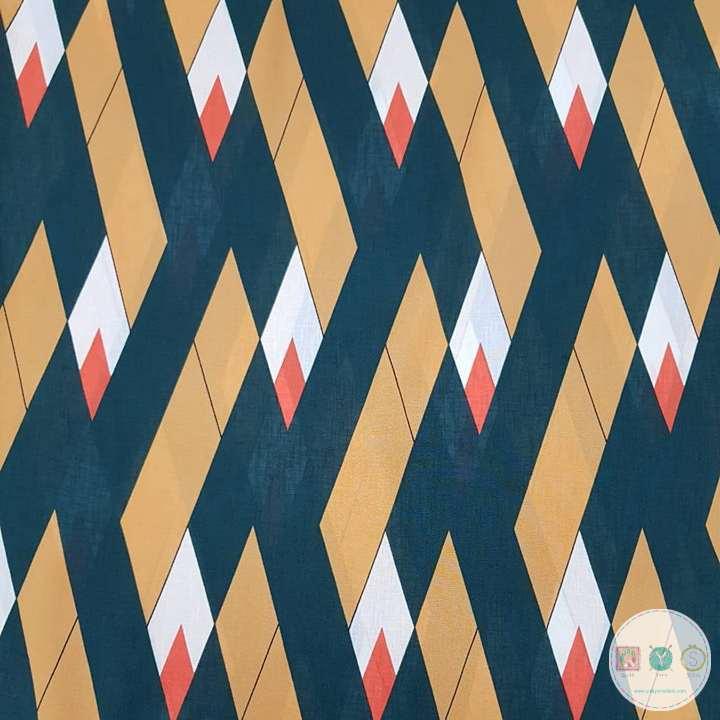 Geometric Light Georgette - Mustard & Green - Office Wear - by Fabric Freedom - Dressmaking Fabric