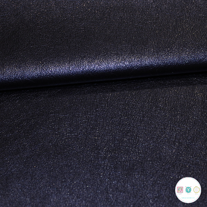Faux Leather in Navy Metallic