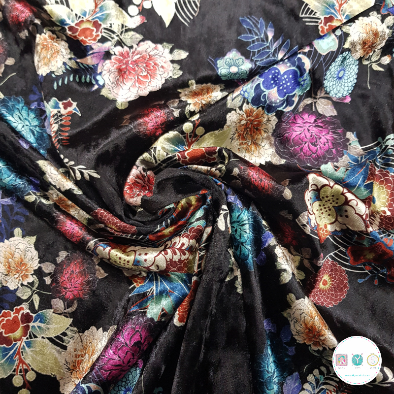 Oriental Flowers Black Stretch Velour - Polyester Velvet - Super Soft Fabric - Dressmaking