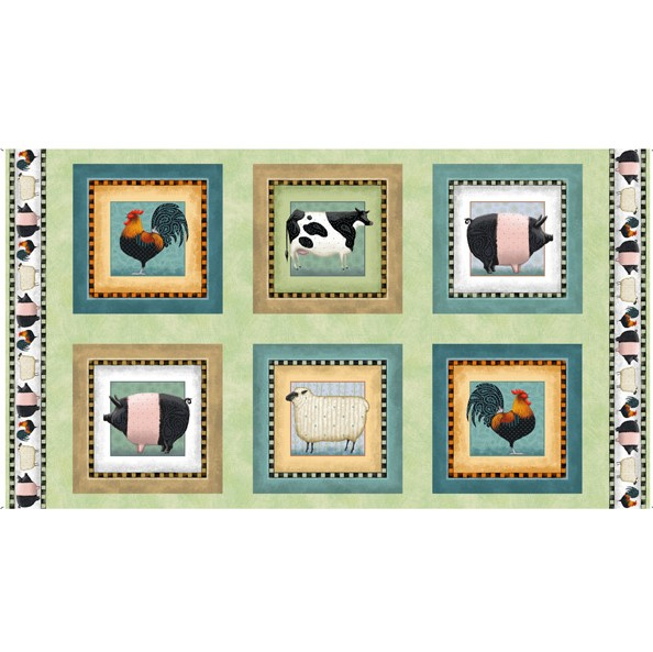 Down On The Farm Fabric Panel by Tim Bowers for Quilting Treasures