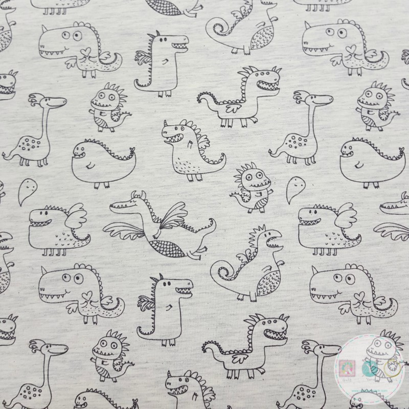 Flying Dragons on Ivory - Cotton Knit - Childrens Jersey - Dressmaking Fabric