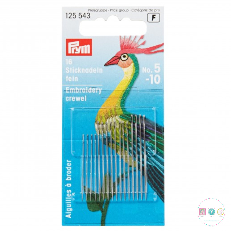 ND083 - Prym Embroidery Crewel Needles - Sizes 5-10 - Mixed Pack - Sewing Needles