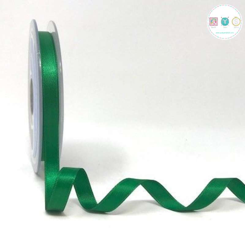 Emerald Green Double-Faced - 8mm Satin Ribbon - Trim - Haberdashery