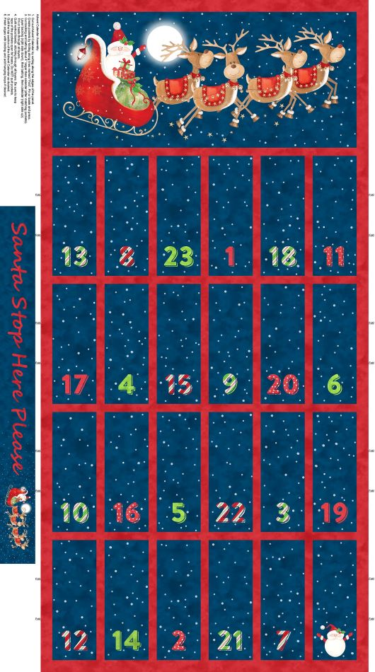 Fabric Advent Calendar - Santa Stop Here by Northcott