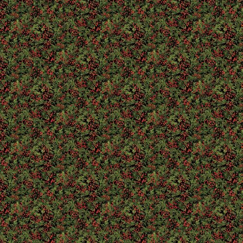 Christmas Fabric - Berries and Leaves on Black - Santa Helpers by Northcott