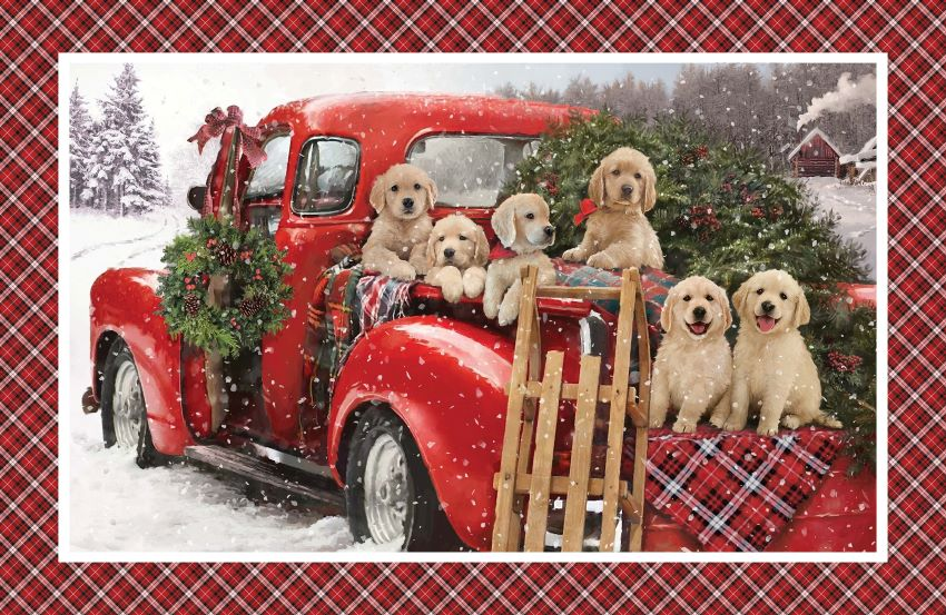 Christmas Fabric Panel with Cute Puppies - Santa Helpers by Northcott
