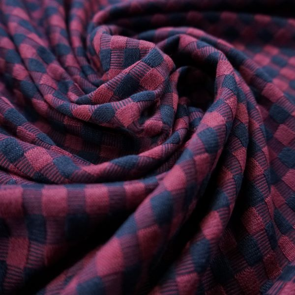 Dressmaking Fabric - Deadstock - Navy and Maroon Checkered Textured Knit Fabric