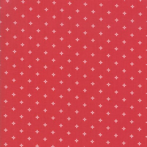 Christmas Fabric with a Diamond Style Star Like Dot on Red from the Country Christmas Collection by Bunny Hill Designs for Moda