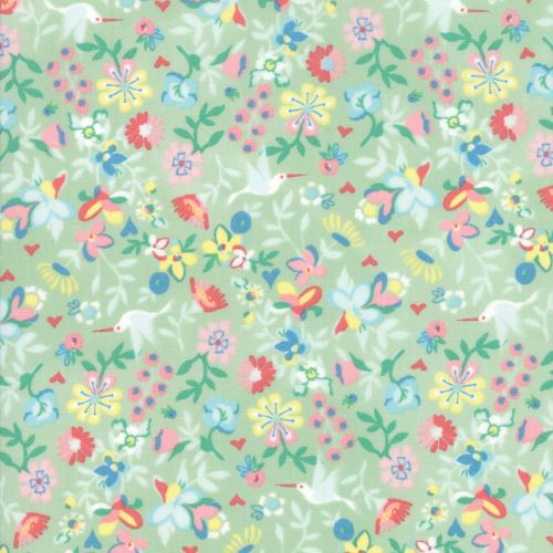 Floral Fabric on Light Sea Green -Gypsy Soul by Basic Grey for Moda