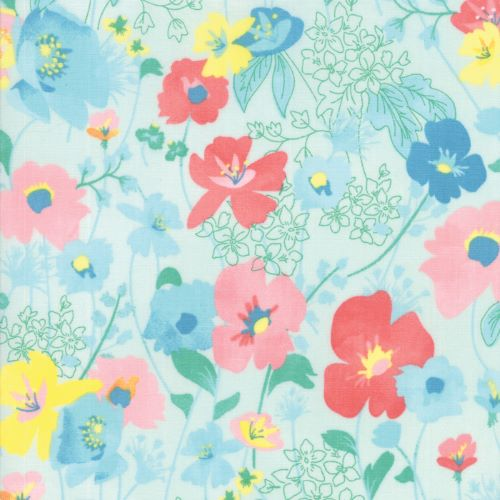 Floral Fabric on Light Sea Green - Gypsy Soul by Basic Grey for Moda
