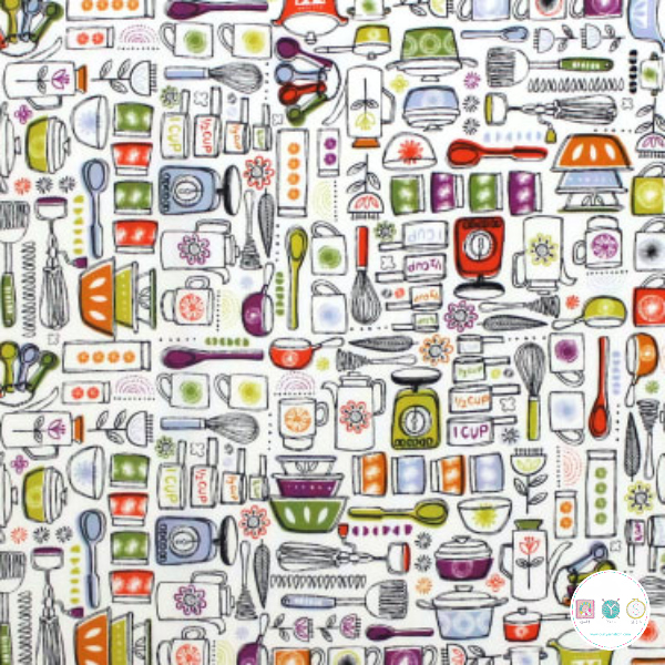 Kitchen Utensils - Family Recipes by Camelot Studios - Patchwork & Quilting Fabric