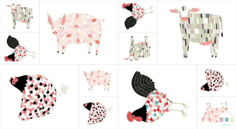 Farm Fresh - Farm Animals - Cotton Fabric Panel - By Gingiber for Moda - Patchwork & Quilting