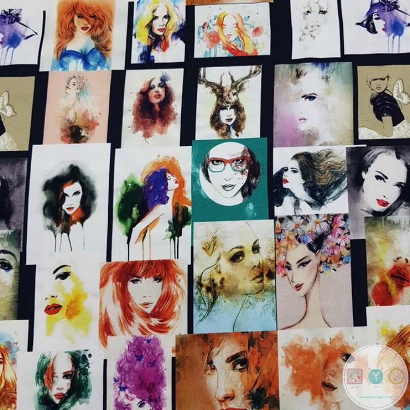 Fashion Dressmaking Fabric - Womens Faces Jersey - Stenzo Knit - Digital Print