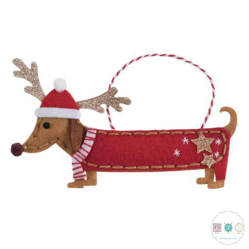 Gift Idea - Make Your Own Felt Dachshund Dog Ornament - Christmas Tree Decoration - Beginners Festive Crafty Childrens Kit - by Trimits