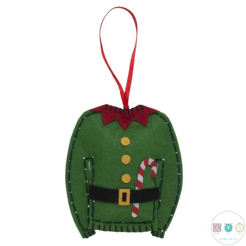 Gift Idea - Make Your Own Felt Elf Jumper - Christmas Tree Decoration - Beginners Festive Crafty Childrens Kit - by Trimits