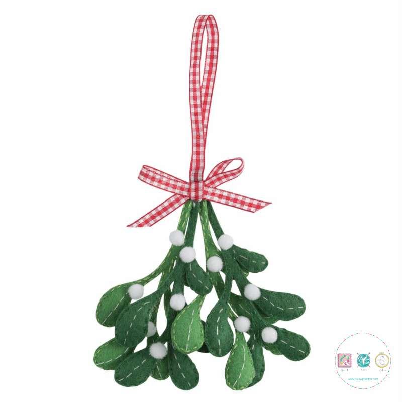 Gift Idea - Make Your Own Felt Mistletoe Ornament - Christmas Tree Decoration - Beginners Festive Crafty Childrens Kit - by Trimits