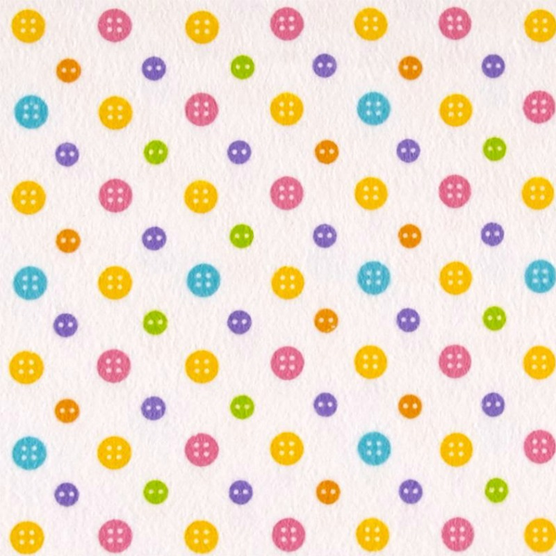 Colourful Baby Buttons on White Flannel  - Ric Rac Paddywack by Kim Diehl for Henry Glass Fabrics