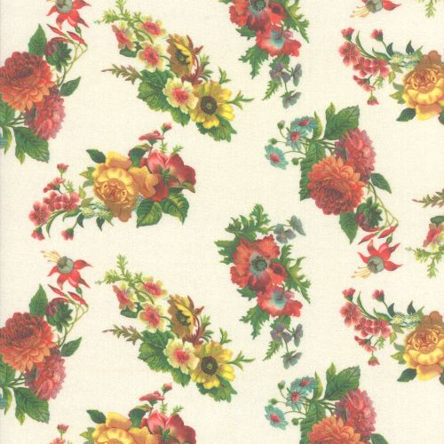 Cream Parchment Floral Quilting Fabric from the Flea Market Mix Collection by Cathe Holden for Moda Fabrics