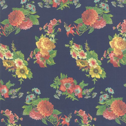 Navy Floral Quilting Fabric from the Flea Market Mix Collection by Cathe Holden for Moda Fabrics