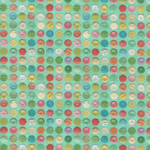 Vintage Style Buttons on Patina Blue Quilting Fabric from the Flea Market Mix Collection by Cathe Holden for Moda Fabrics
