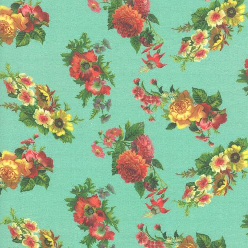 Patina Blue Floral Quilting Fabric from the Flea Market Mix Collection by Cathe Holden for Moda Fabrics