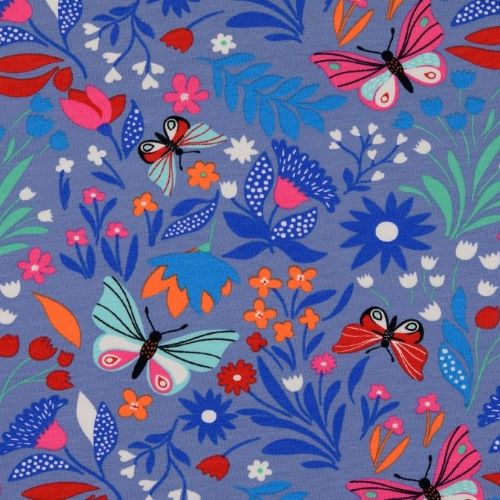 French Terry Fabric with Butterflies and Flowers on Blue