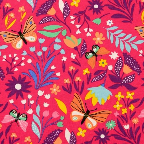 French Terry Fabric with Butterflies and Flowers on Pink