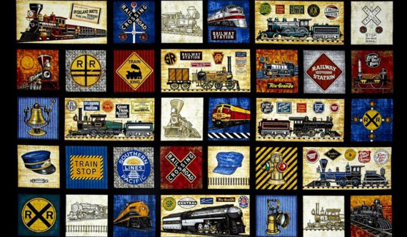Vintage Trains Fabric Panel - Steam Engines on Black - By Dan Morris for Quilting Treasures