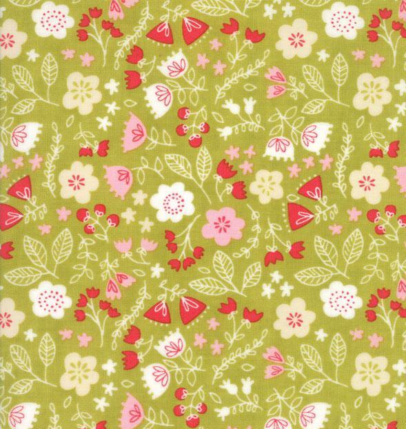 Green Floral Fabric - Just Another Walk In The Woods Collection by Stacy Iest Hsu - Moda Fabric - Patchwork & Quilting