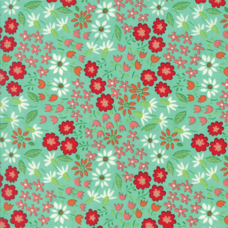 Farm Fun Flowers - Green Floral Cotton Material by Stacy Iest Hsu for Moda Fabrics - Patchwork & Quiltin