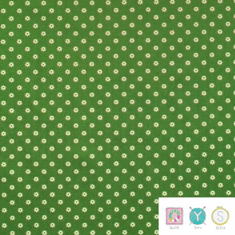 Small Daisy Green Floral - Hop, Skip and a Jump by American Jane for Moda Fabric