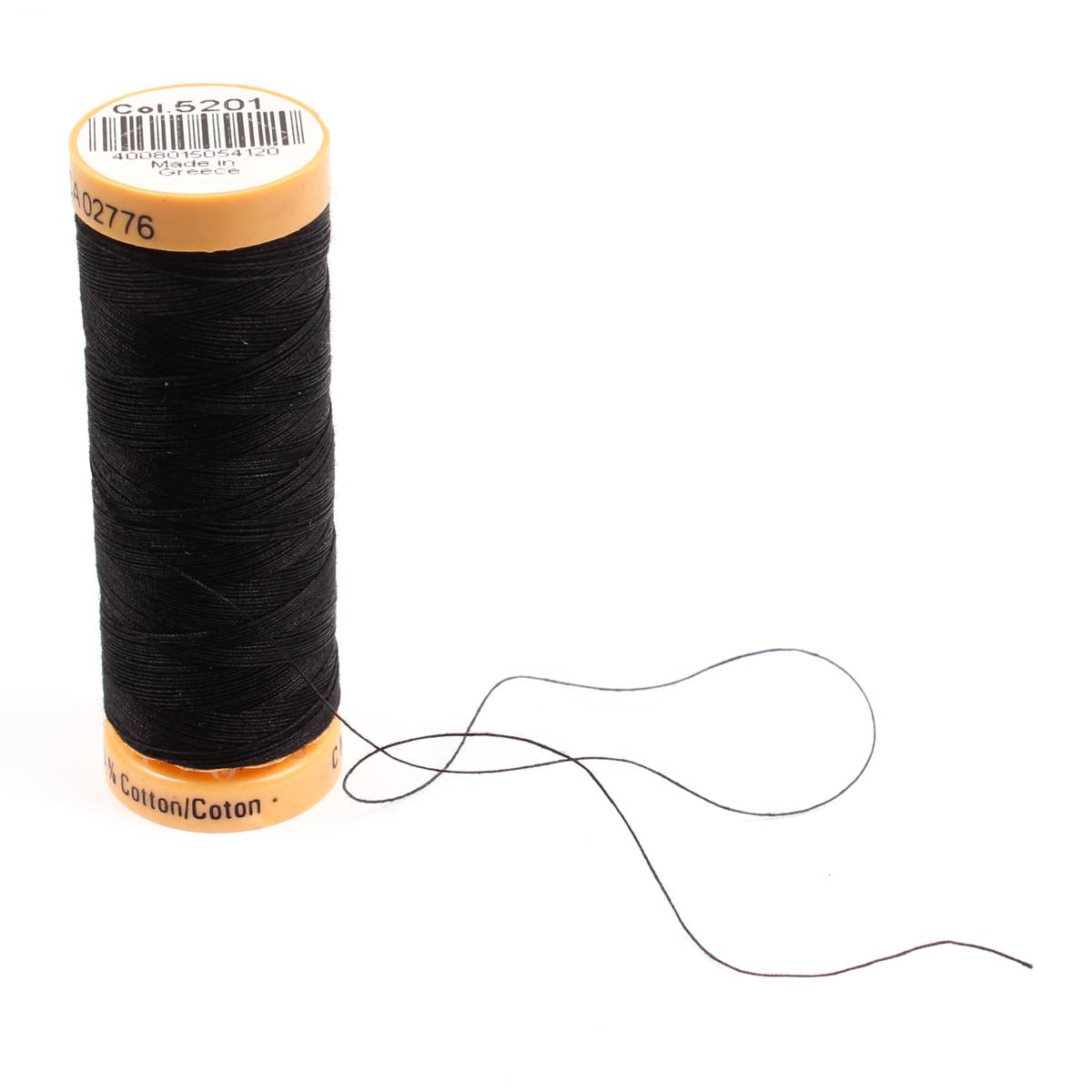 Gutermann Black Thread G5201 - 100% Cotton - 50wt - Sewing Thread - All Purpose - Domestic