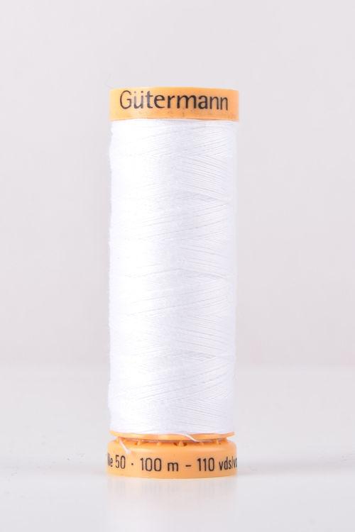 Gutermann White Thread G5709  - 100% Cotton - 50wt - Sewing Thread - All Purpose - Domestic
