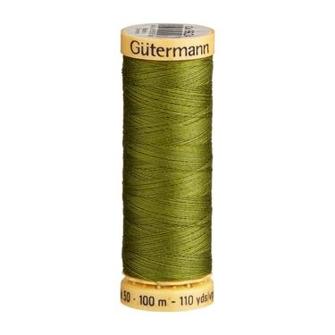 Gutermann Olive Green Thread G9924 - 100% Cotton - 50wt - Sewing Thread - All Purpose - Domestic